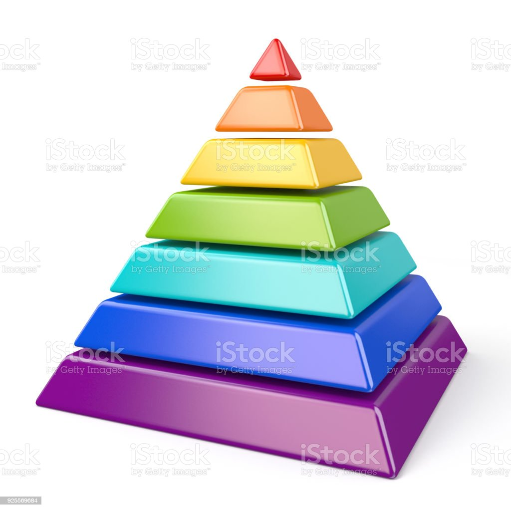 Colorful pyramid with seven levels 3D stock photo