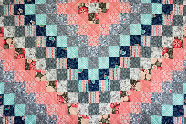 colorful quilt - quilt stock photos and pictures