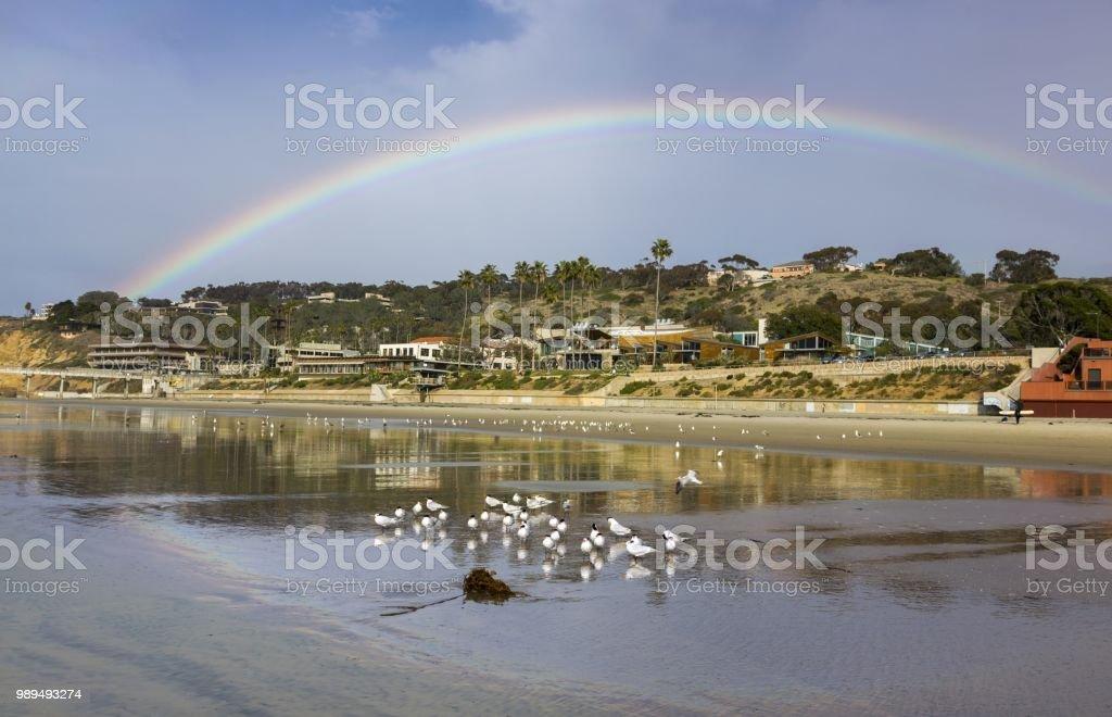 Colorful Rainbow at La Jolla Shores Pacific Ocean Coastline stock photo