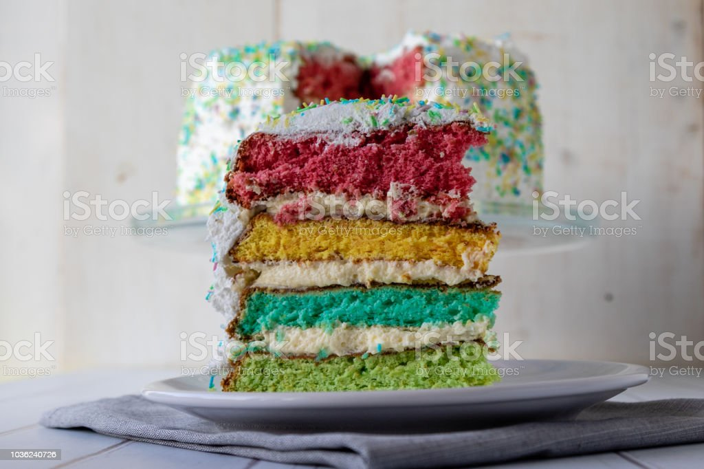 colorful rainbow cake dessert with colored layers stock photo