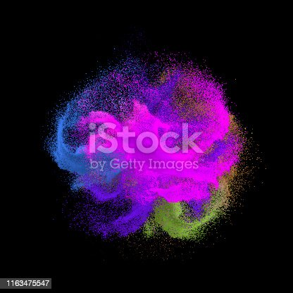 1140073628 istock photo Colorful rainbow holi paint color powder explosion isolated at black background 1163475547