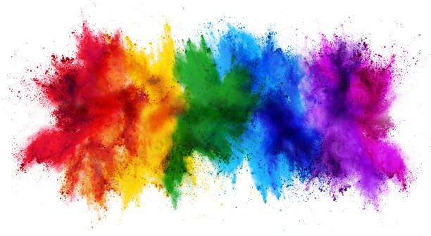 colorful rainbow holi paint color powder explosion isolated white wide panorama background colorful rainbow holi paint color powder explosion isolated on white wide panorama background colored powder stock pictures, royalty-free photos & images