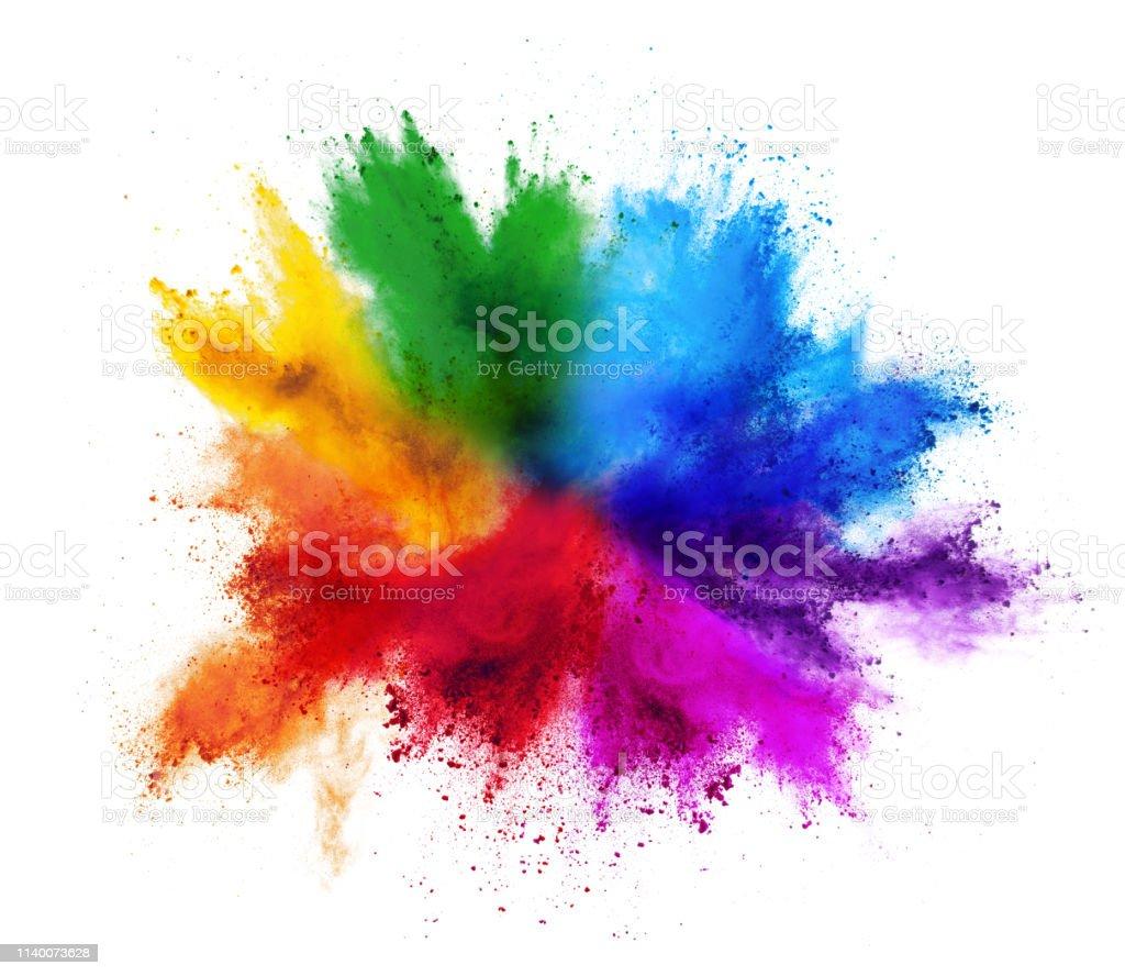 coloré arc en ciel Holi peinture couleur poudre explosion isolé fond blanc - Photo de Abstrait libre de droits