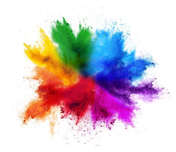 красочные радуги холи краска цвет порошка взрыв изолированных белый фон - краска стоковые фото и изображения