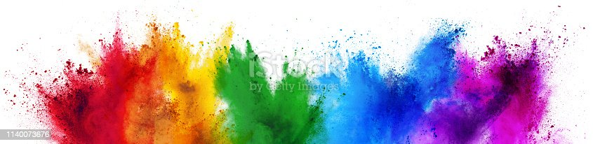 1140073628 istock photo colorful rainbow holi paint color powder explosion isolated white wide panorama background 1140073676