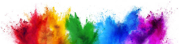 colorful rainbow holi paint color powder explosion isolated white wide panorama background - rainbow foto e immagini stock