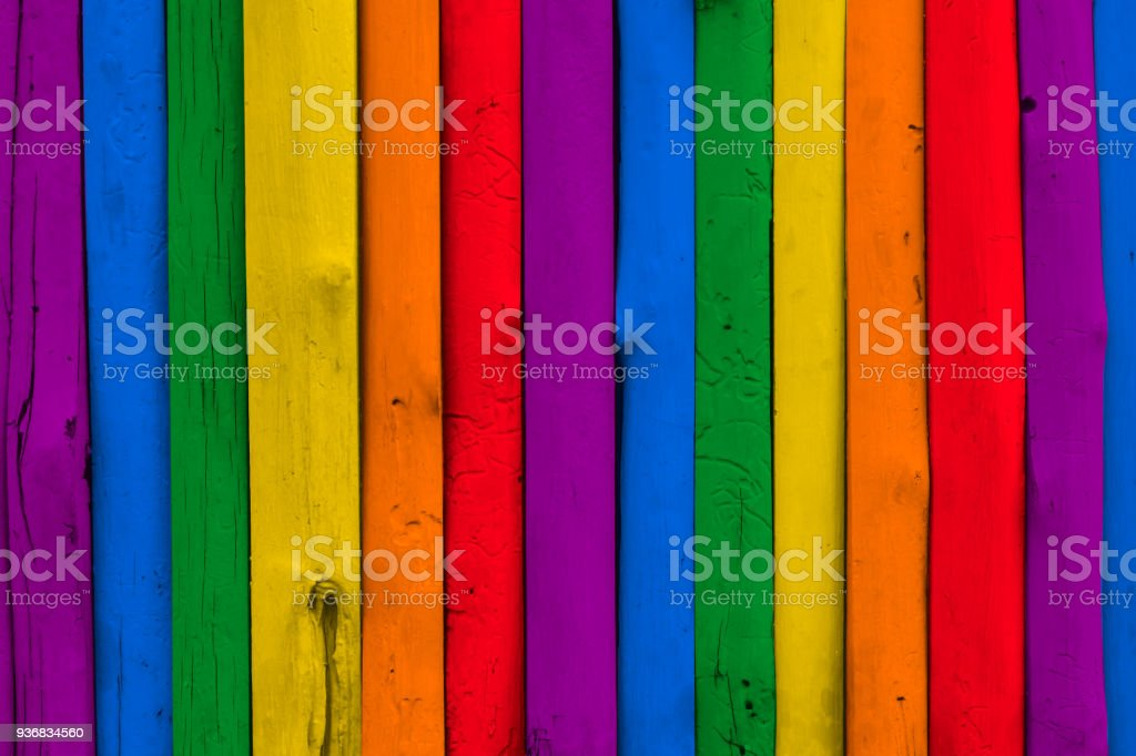 colorful rainbow LGBT wood background stock photo