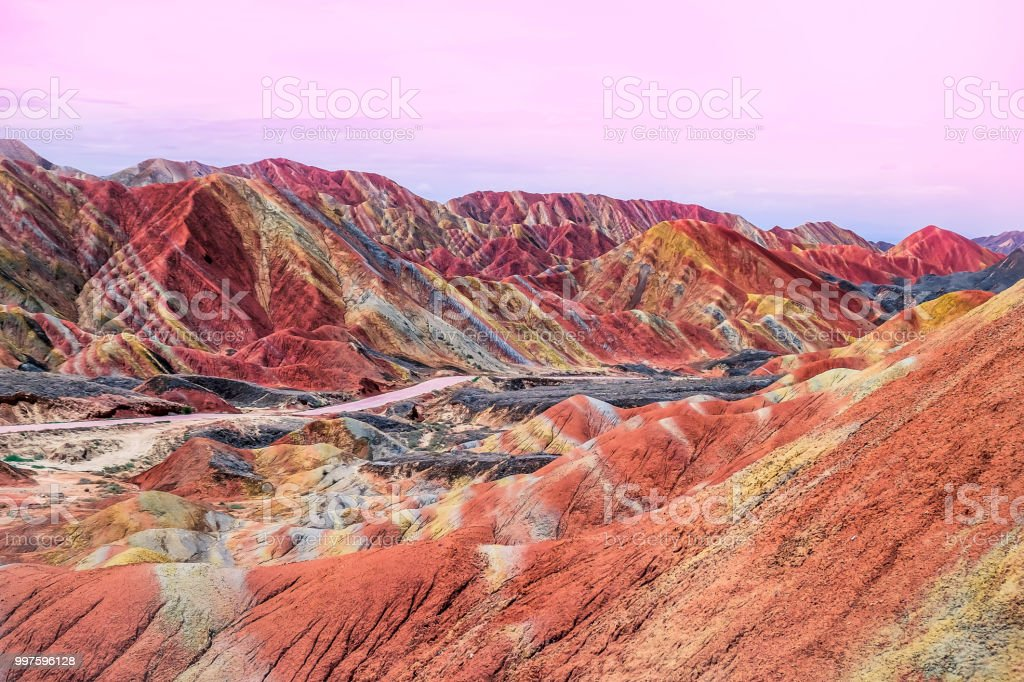 Colorful rainbow mountain in China stock photo