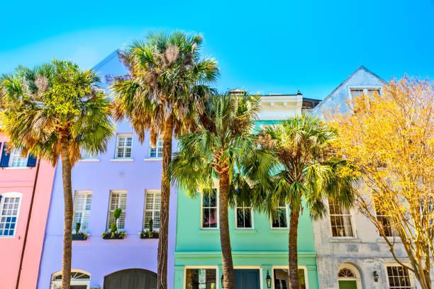 Colorful Rainbow Row, Charleston SC stock photo