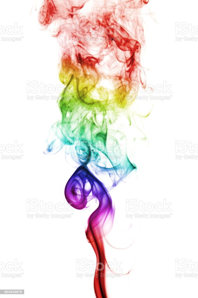 colorful rainbow smoke isolated on white background stock