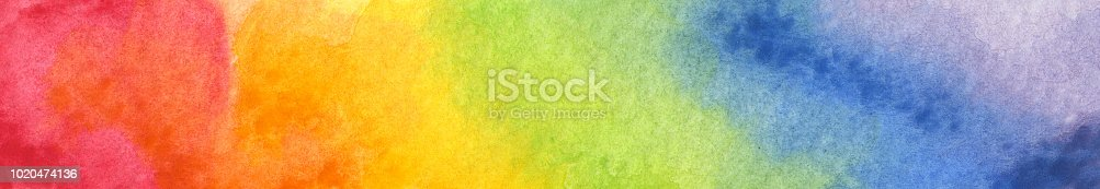 istock Colorful Rainbow watercolor background 1020474136