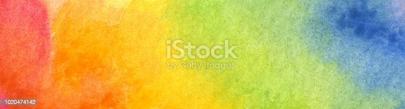 istock Colorful Rainbow watercolor background 1020474142