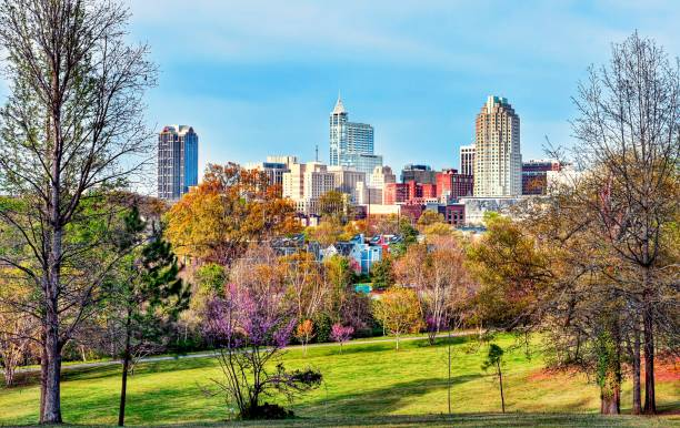 Colorful Raleigh Cityscape A colorful downtown Raleigh, North Carolina cityscape view from a park in spring. raleigh - nc skyline, spring stock pictures, royalty-free photos & images