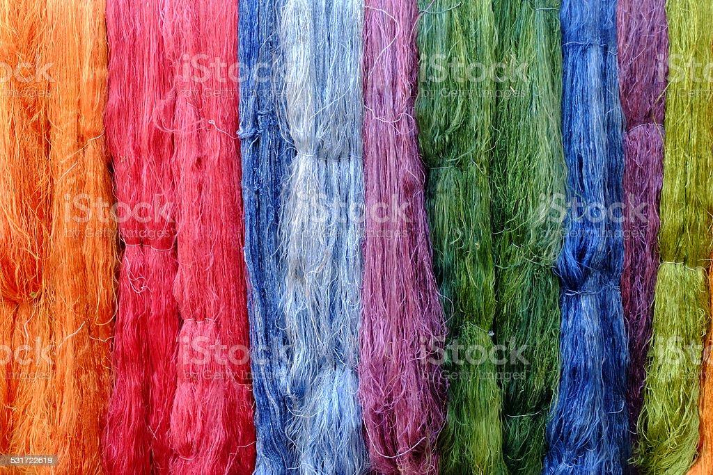 Colorful raw silk thread stock photo