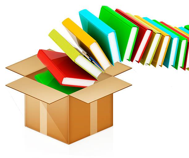 colorido real libros en caja de cartón - suministros escolares fotografías e imágenes de stock