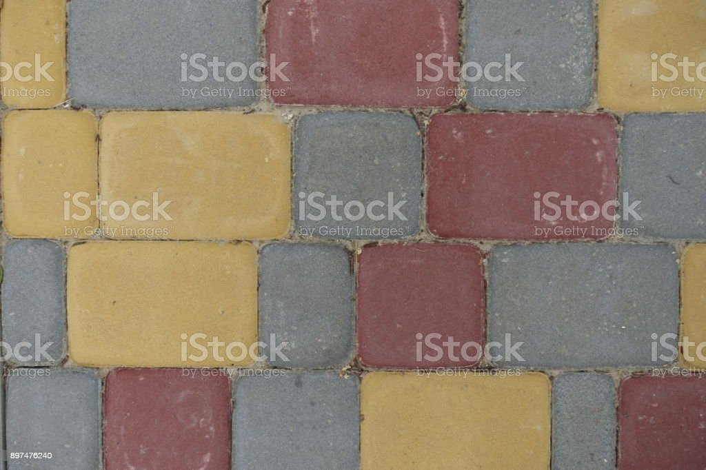 Colorful rectangular concrete pavement blocks from above stock photo