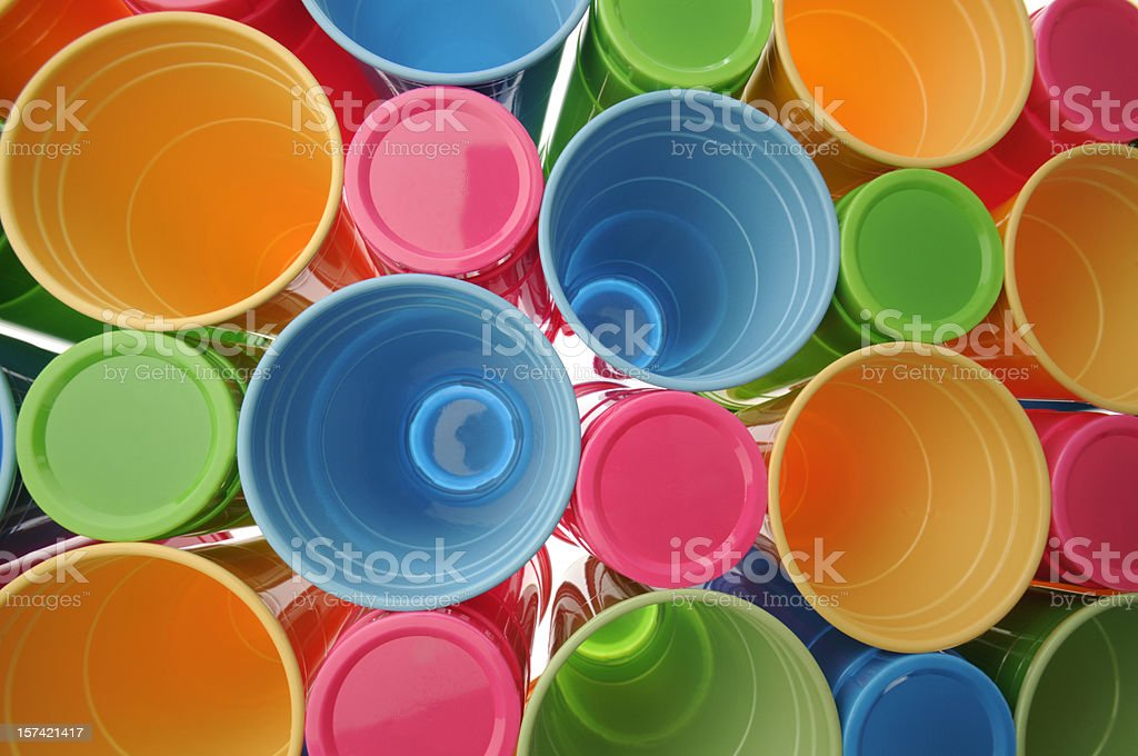 Colorful Recyclable Disposable Plastic Drinking Cups or Glasses royalty-free stock photo