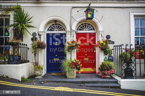 Photo taken in Dublin, Republic of Ireland in October 2015 depicting two colorful doors and flower arrangement at the door step with a colorful unique lamp.