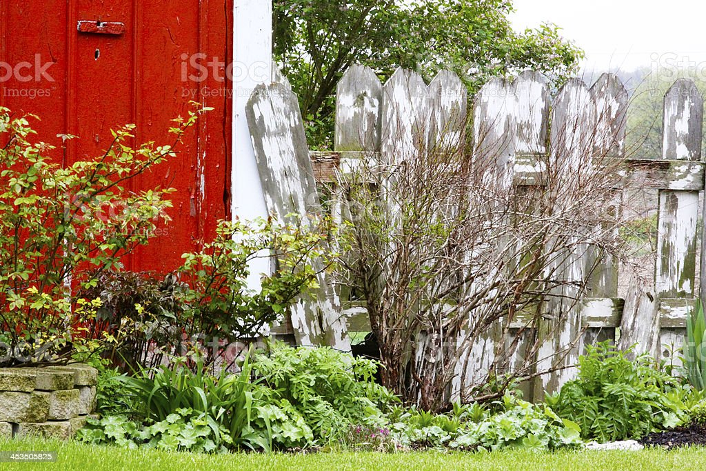 Colorful red barn against old white picket fence royalty-free stock photo