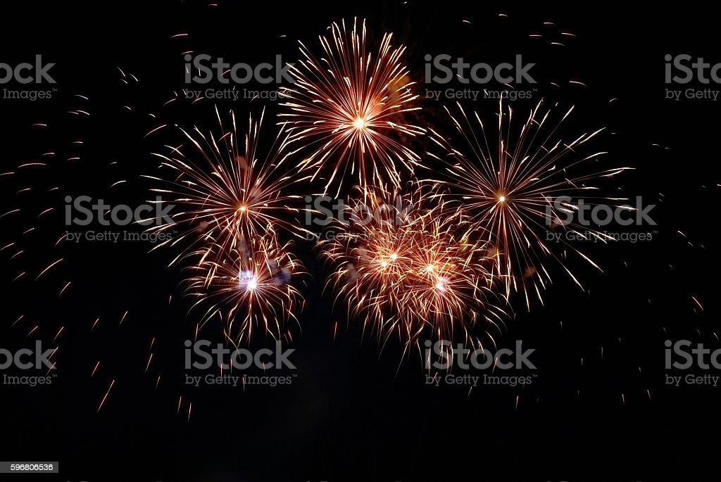 Colorful red fireworks stock photo
