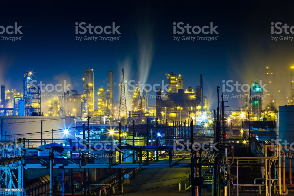 Colorful Refinery Complex at Night stock photo