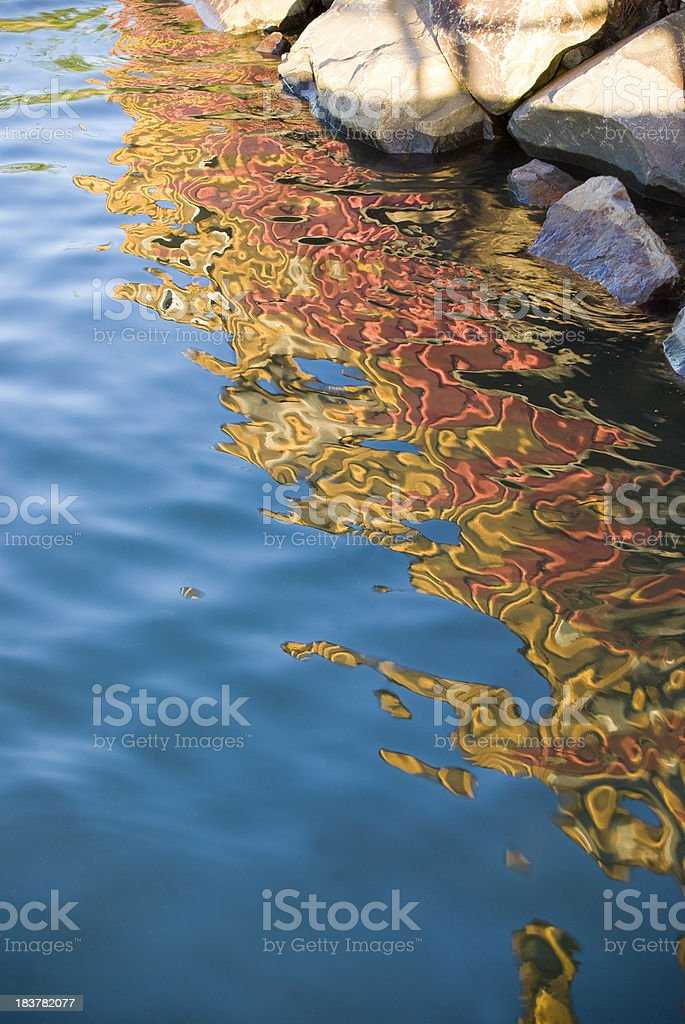 colorful reflection and refraction in blue water royalty-free stock photo