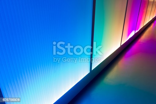 istock Colorful reflection of the lighting wall background 625756928