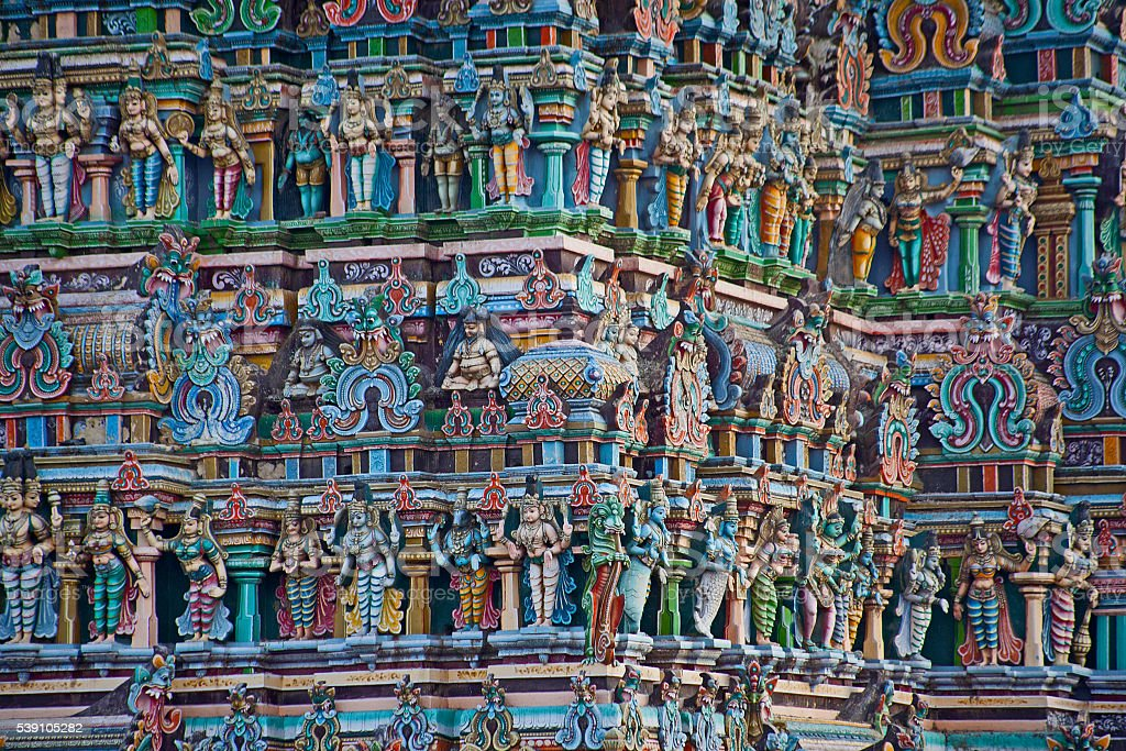 colorful reliefs of Hindu gods stock photo