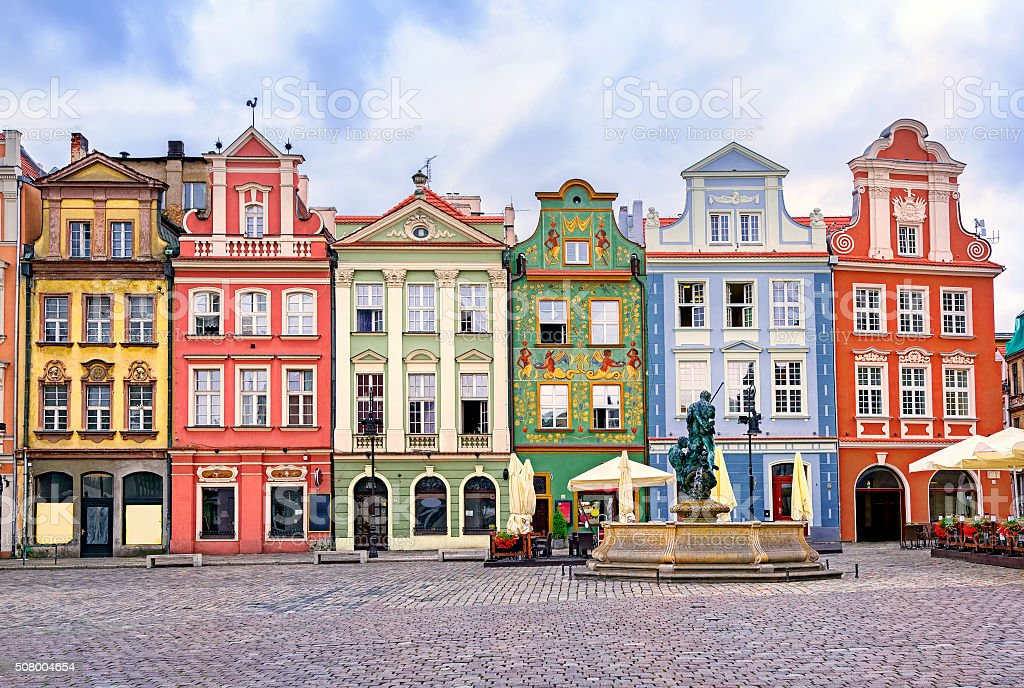 Colorful renaissance facades on central square in Poznan, Poland stock photo