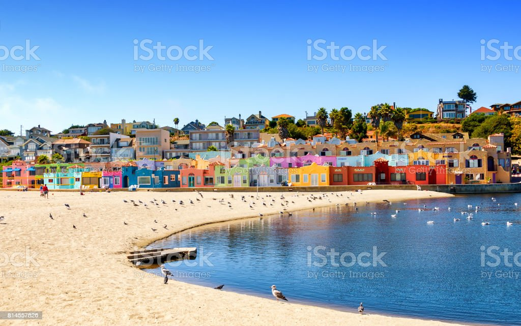 Colorful residential neighborhood in Capitola beach, on the California coast stock photo