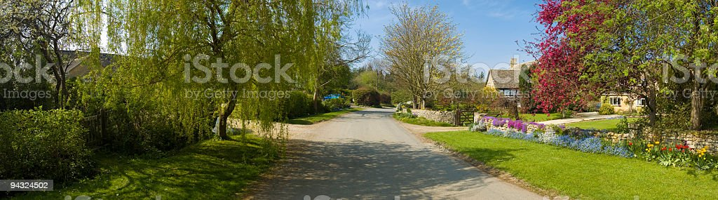 Colorful residential street stock photo