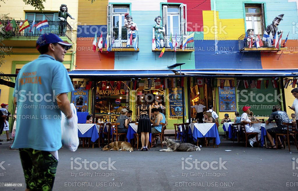 Colorful restaurant in the historic La Boca district stock photo