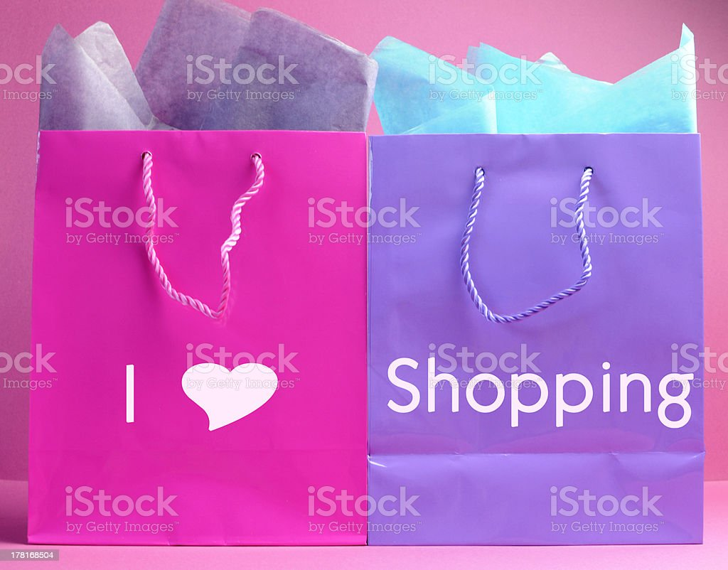 Colorful retail bags with I Love Shopping message. royalty-free stock photo