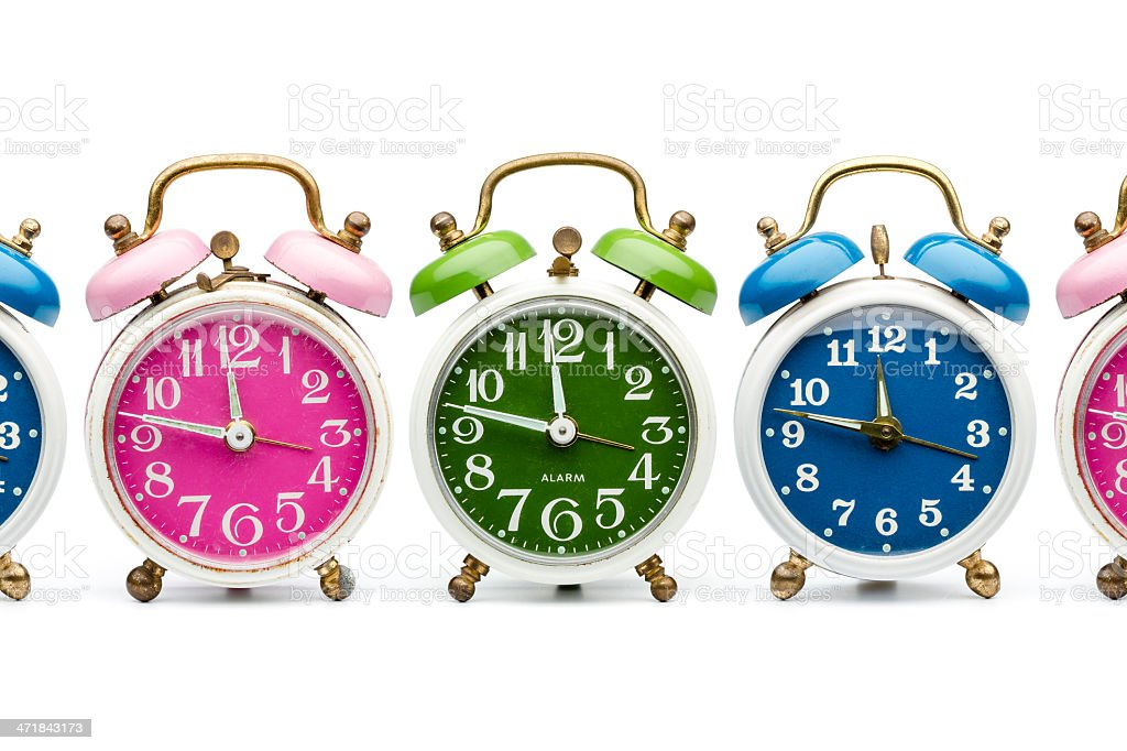 Colorful retro alarm clocks royalty-free stock photo