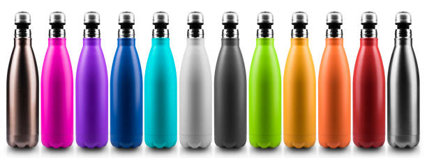 colorful reusable stainless thermo bottles for water or another liquid, half open cap. steel eco bottle, no plastic. isolated on white background. - icon set healthy foto e immagini stock