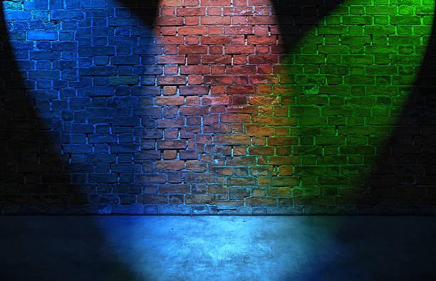 Colorful RGB spot lights on brick wall stock photo