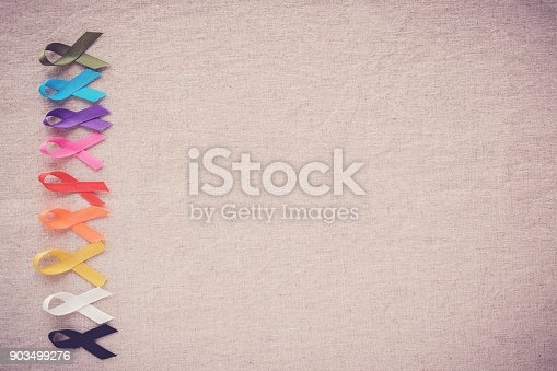 istock colorful ribbons, cancer awareness, World cancer day background 903499276