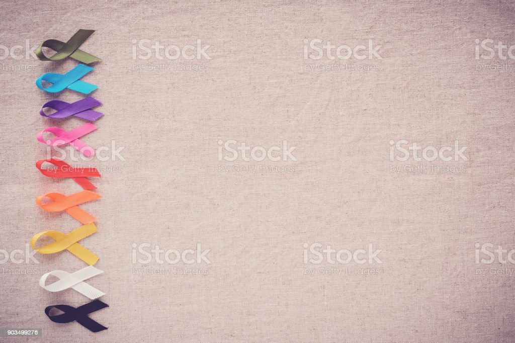 colorful ribbons, cancer awareness, World cancer day background stock photo