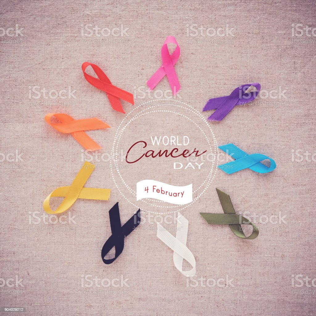 colorful ribbons, cancer awareness, World cancer day stock photo