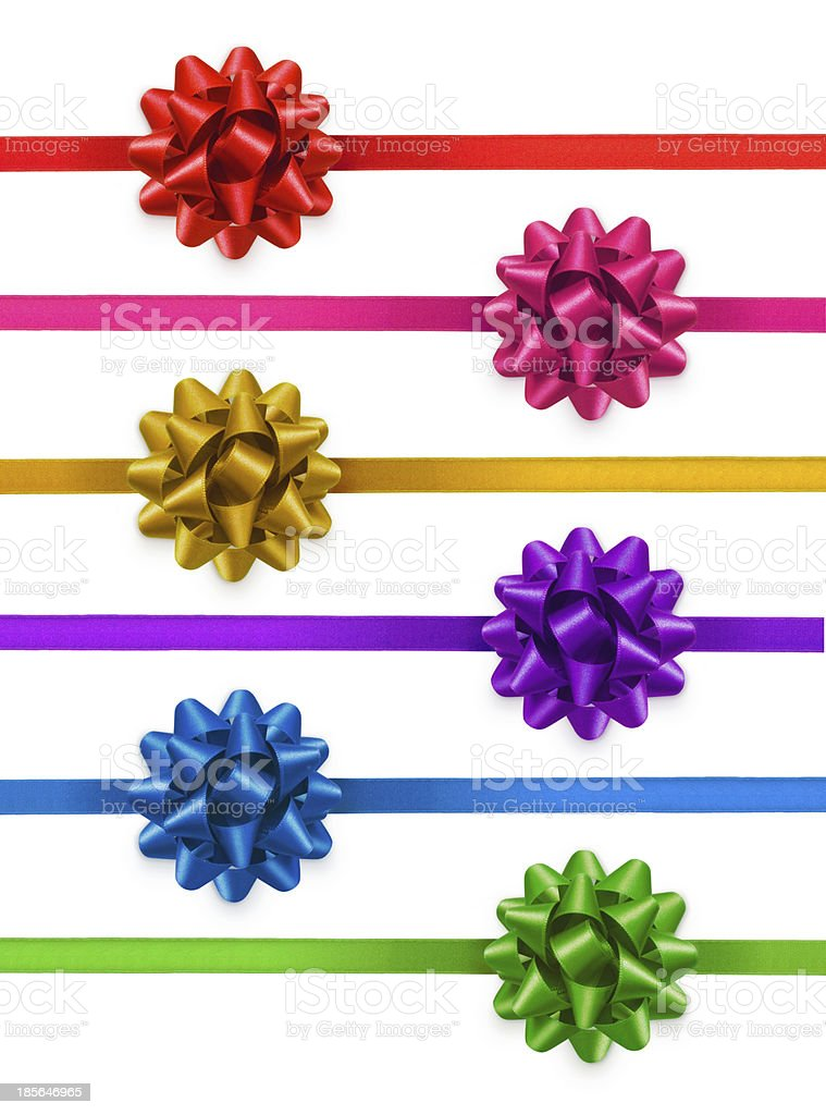 Colorful ribbons with bows stock photo