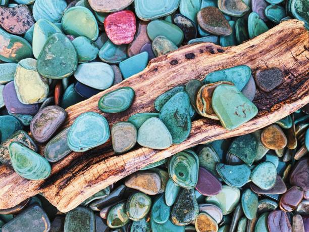 colorful rocks in glacier national park - st. mary lake stock pictures, royalty-free photos & images