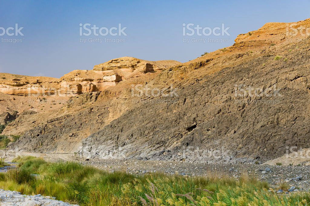 Colorful rocks Oman stock photo