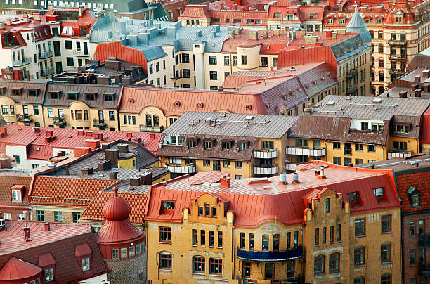 Colorful roofs of Gothenburg Sweden stock photo