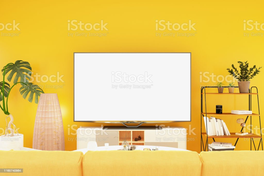 Colorful Room with Television Set. 3D Render