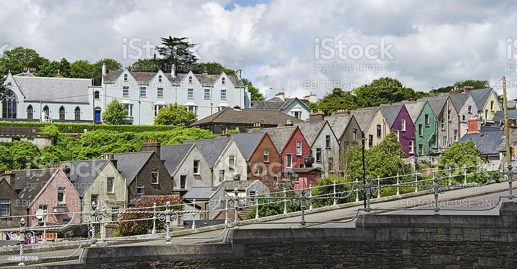 Colorful row houses in Cobh, Ireland stock photo
