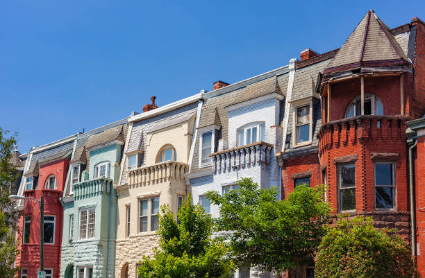 Colorful Row Houses In Richmond, Virginia stock photo