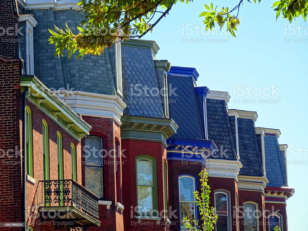 Colorful Row Houses stock photo
