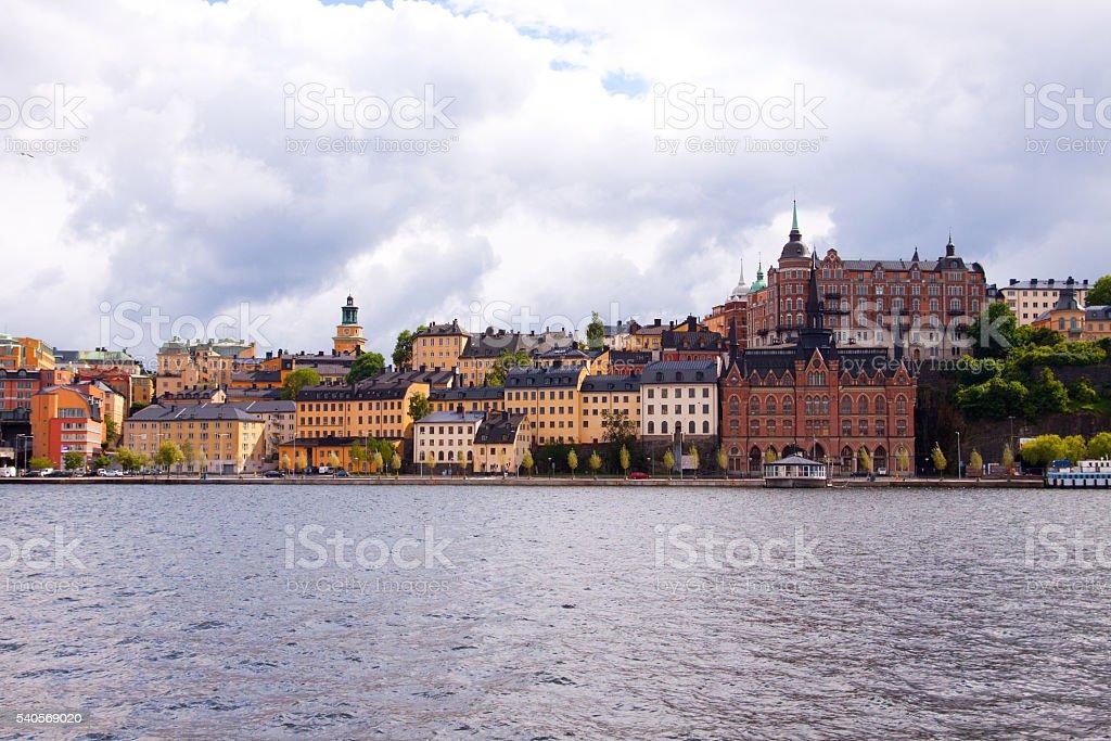 Bunte Reihe von Häusern Stockholm – Foto