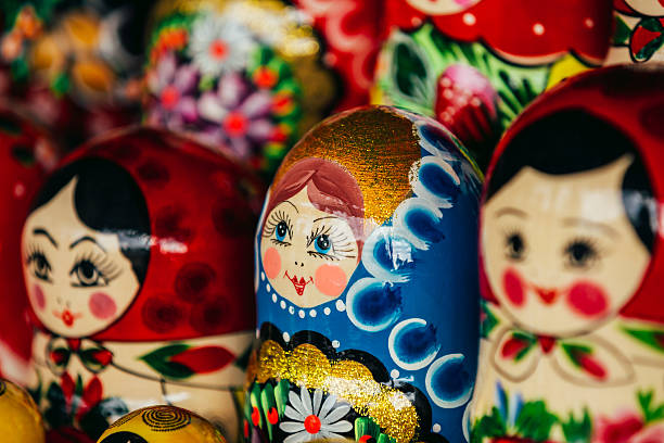 Colorful Russian Nesting Dolls Matreshka At Market. stock photo