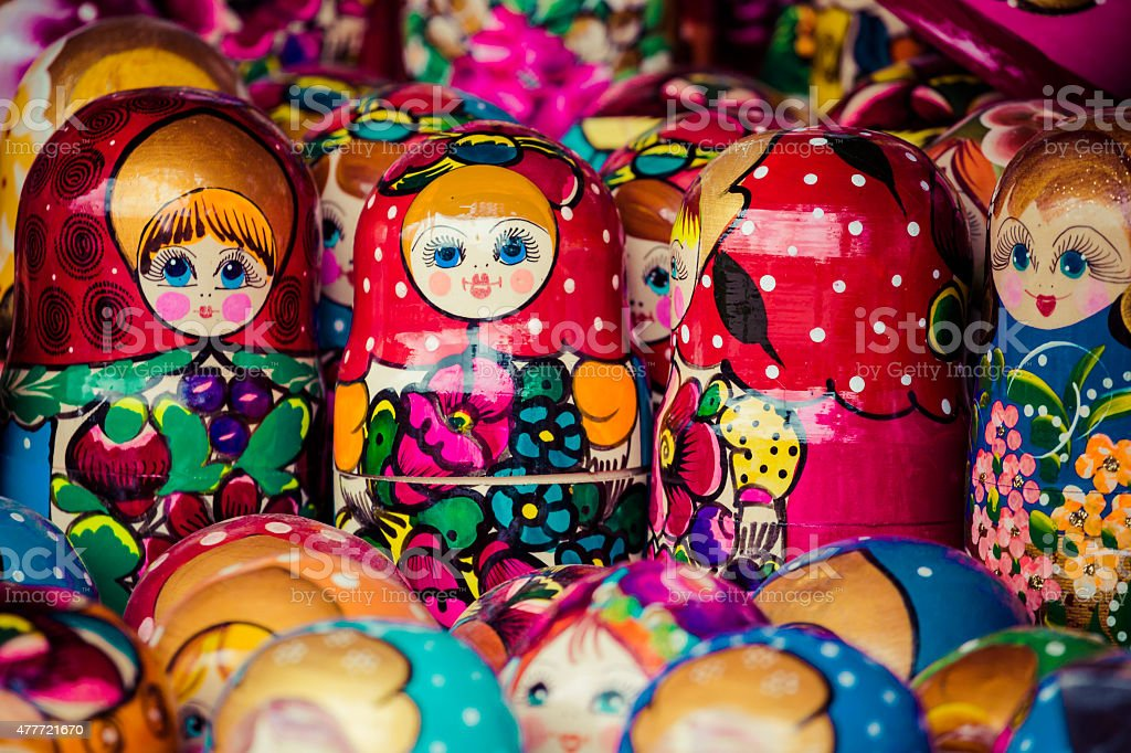 Colorful Russian nesting dolls matreshka at the market. Matriosh stock photo